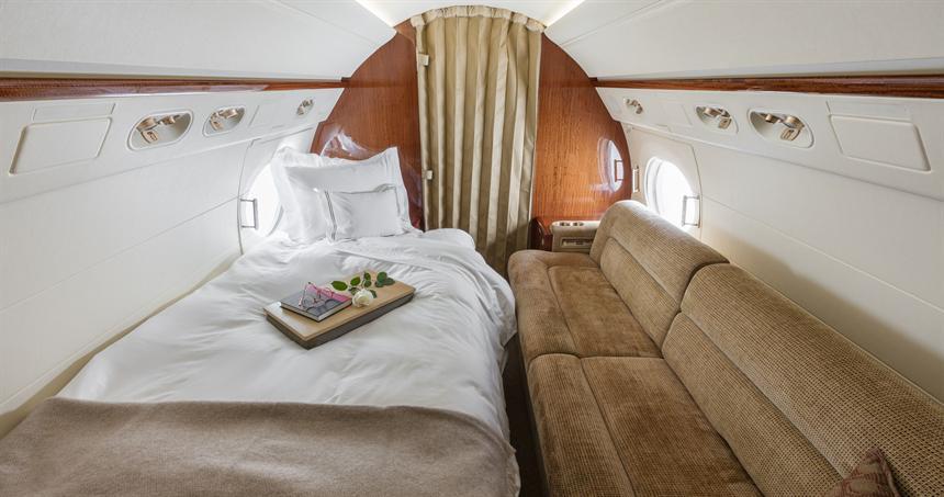 Interior of Avjet's charter Gulfstream G550 Based at TEB Teterboro, NJ