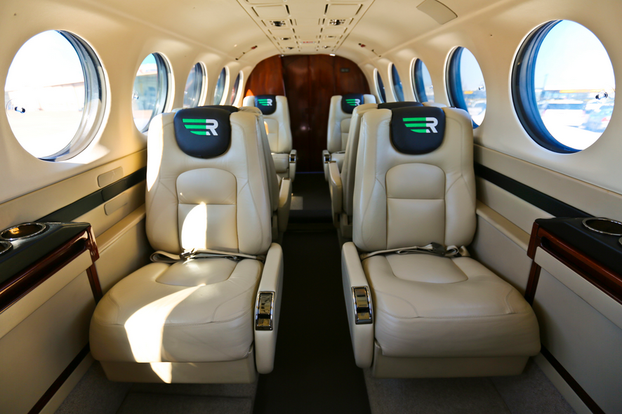 Rise King Air 200 Cabin for flight service between Dallas, Houston, Austin and Midland Texas