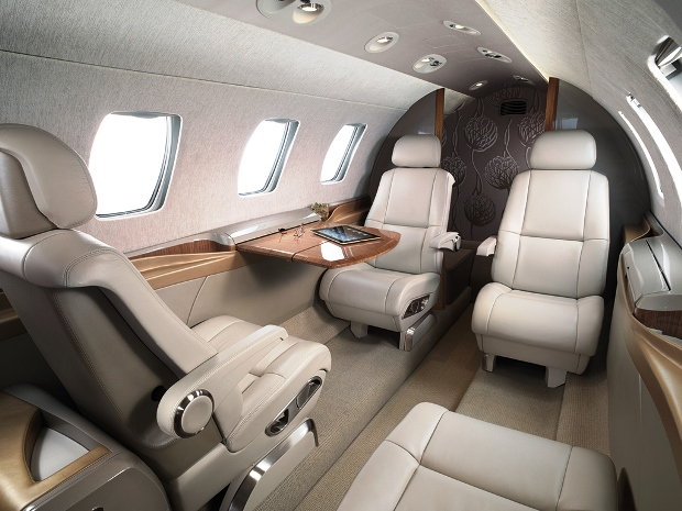 Charter Citation M2 light jet interior