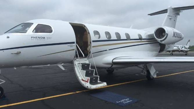 Phenom 300 jet for charter operated by Grandview Aviation