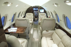 Cabin of the Hawker 800XP for charter, based in Dallas TX