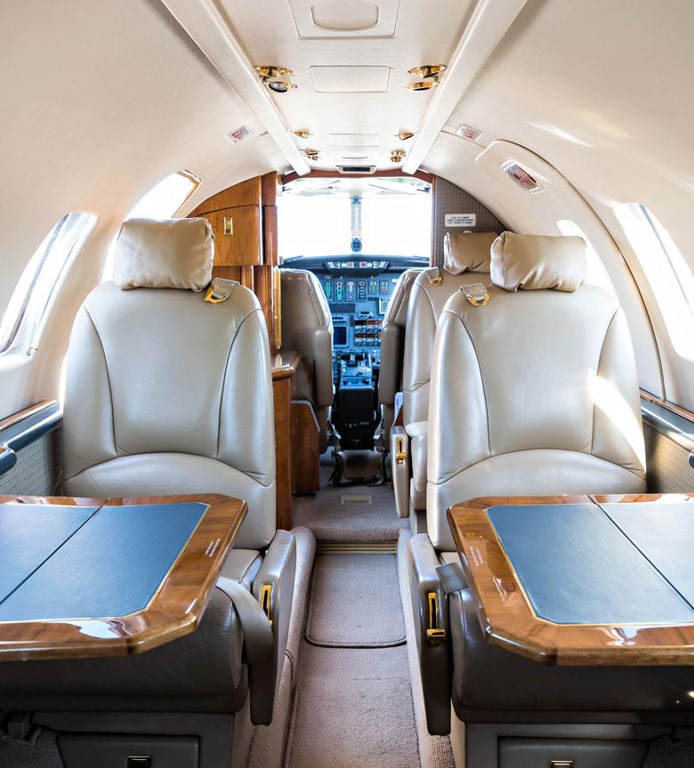 Citation V cabin, operated by Southern Sky Aviation