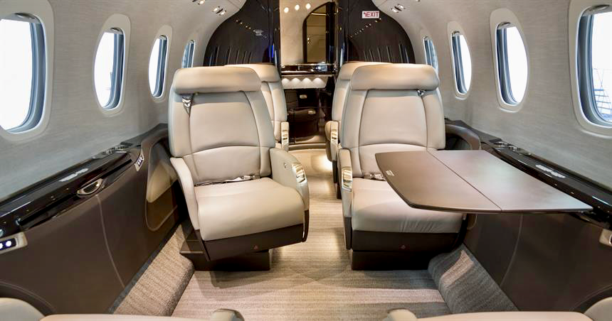 Citation Latitude - the only midsize jet with spacious flat floor and 9 seats.