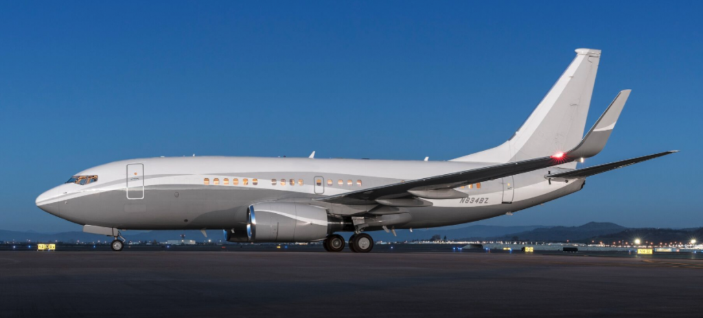 Boeing Business Jet for charter with unrestricted availability, operated by Silver Air.