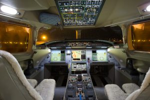 Updated cockpit and avionics of Falcon 7X available for charter.